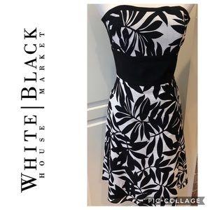 WHBM Black White Strapless Tropical Print Dress 0